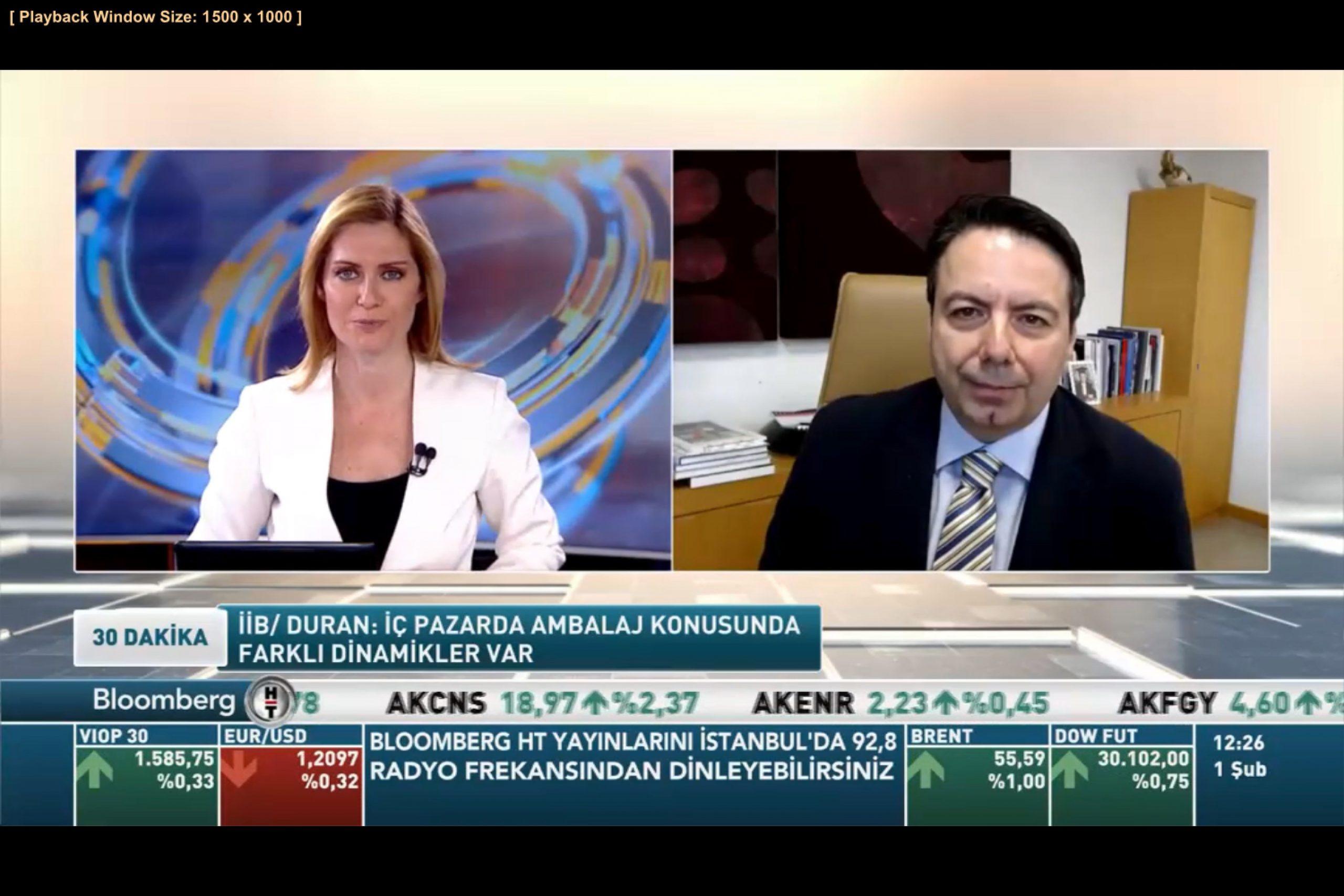 KASAD Başkanı Alican Duran, Bloomberg TV'de Karton Ambalaj İhracatını Değerlendirdi  I 01/02/2021